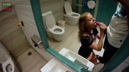 Public Lavatory Sex | POV Blowjob | Doggy Style View From Below | Cumshot
